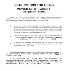 Power Of Attorney For Child Care Free Alabama Minor Child Power Of Attorney Form Pdf