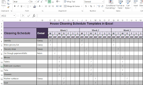 House Cleaning Schedule Templates In Excel Microsoft Excel