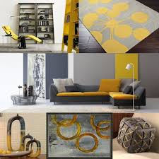 yellow and grey furniture. Modern Living Room Interior In Grey And Yellow Color Palette Furniture