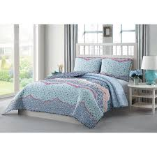 undefined caravan 3 piece blue pink purple white king reversible quilt set