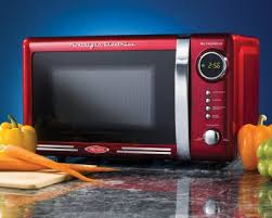 red microwave ovens nostalgia electrics rmo770red retro microwave kitchen view