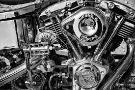 motorcycle engine harley davidson custom chopper black and white