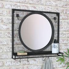 black wall mirror with shelf hooks