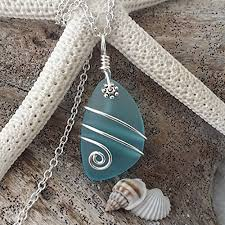 wire wrapped recycled glass pendant. Wire Wrapped Recycled Glass Pendant