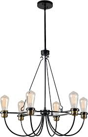 kenroy home 93896bl damien modern black with plated antique brass lighting chandelier loading zoom
