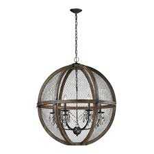 titan lighting 6 light large renaissance invention wood and wire chandelier
