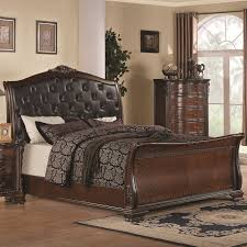 upholstered leather sleigh bed. Coaster 202261KE Maddison East King Sleigh Bed Upholstered Headboard - Main Image Leather A