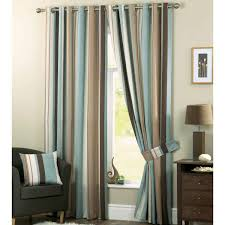 cozy color line pattern bedroom curtains design combined with dark gray armed sofa also a