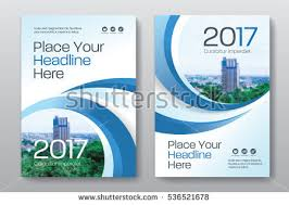 blue color scheme with city background business book cover design template in a4 can be