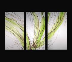 lime green wall art within 2018 3 abstract canvas painting white lime green brown modern