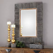 rustic wood framed mirrors. Rustic Wood Framed Mirror \u2013 Gold Leaf Accent Mirrors S