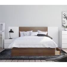 Nexera Hera Full Size Bedroom Set in Walnut and White - 402105