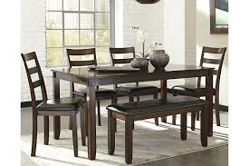 Image Corner Coviar Dining Room Table And Chairs With Bench set Of 6 Large Ashley Furniture Homestore Coviar Dining Room Table And Chairs With Bench set Of 6 Ashley