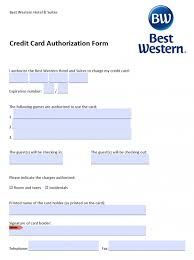 Credit Consent Form Free Best Western Credit Card Authorization Form Pdf