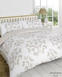 stephanie gold cream beige erfly reversible duvet quilt cover bedding set