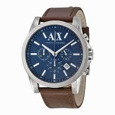 a x armani exchange watches jomashop armani exchange chronograph blue dial brown leather men s watch