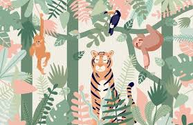 jungle wallpaper for kids. Contemporary For Kids Jungle Animal Friends Wallpaper Mural And For A