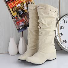 women mid calf suede boots slouch comfort soft leather elevator shoes