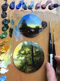 painter dina brodsky previously records travel memories from long distance bicycling trips in small circular oil paintings brodsky s style channels the