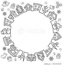 デフォルメした家と木のサークル手書風線画のみクリスマスバージョンの