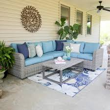 outdoor sectional home depot. Leisure Made Forsyth 5-Piece Wicker Outdoor Sectional Set With Blue Cushions Home Depot Y