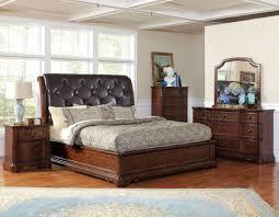 dark cherry wood bedroom furniture sets. Casual Bedroom Style Decor With Dark Cherry Wood Bed Frame, Black Tufted Leather Headboard, Furniture Sets