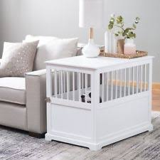 furniture pet crates. Furniture Pet Crate Dog Kennel White Large End Table Wood Cage Puppy Bed Accent Crates