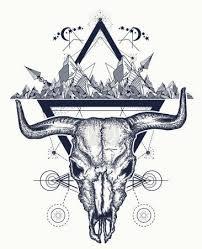 Vektorová Grafika Bull Tetování Lebky A Hory Indiánské Býčí Lebka