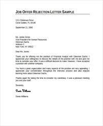 Rejecting An Offer Letter Job Rejection Letter Template Business