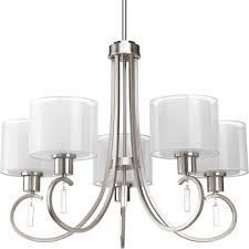 progress lighting invite brushed nickel chandelier w 5 light 100w new