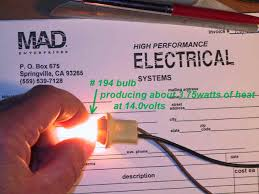 catalog in comparison a 194 miniature light bulb operating at 14volts which is common for instrument lighting at dash panels will produce about 3 75watts of