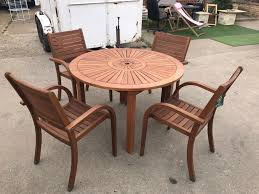 almeria 4 seater round wooden garden furniture set 1 table 4 chairs collection