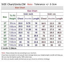 Size Chart Clothing Shirts