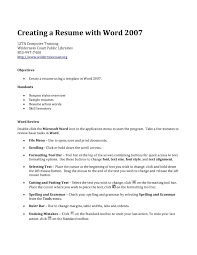 Creating Resume On Word Resume Work Template