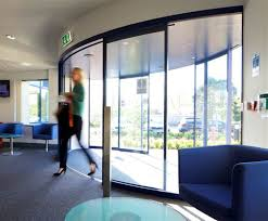 curved automatic sliding doors places for people