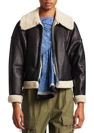 3 1 phillip lim dolman aviator style shearling trim leather jacket