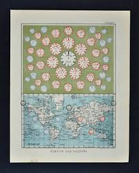 Details About 1895 Johnston Map World Time Chart From London Paris New York Sydney Tokyo Etc