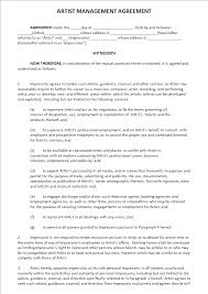 Free Artist Management Agreement Templates At