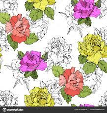 Mooie Koraal Gele Paarse Rozen Gegraveerde Inkt Art Naadloze