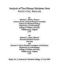 """Analysis of Two Human Skeletons from Smith's Fort, Bermuda"""" by Michael L  Blakey"""