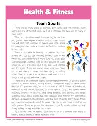 Health and Fitness Reading Comprehension Worksheets