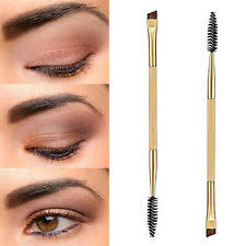 best angled eyebrow brush. makeup double eyebrow brush + comb cosmetic bamboo handle brushes beauty best angled
