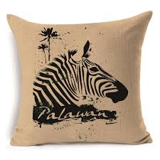 ... Black and White Striped Zebra Cushion Cover High Quality Printed Cotton  Linen Throw Pillow Case Size: 45cm x 45cm. Weight: 80g. Color: As the  picture