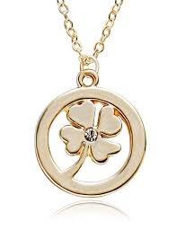 com tushuo simple round shape gold plated four leaved clover pendant necklace for women and girls gift jewelry