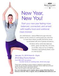 Blue Flame Kitchen Calgary New Year New You Cooking Yoga Class Yoga General Event In