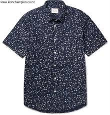 steven alan printed advisable cotton poplin shirt men navy colour beghnruy14