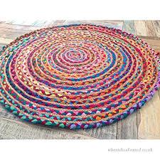fair trade 60cm round braided rag rug cotton jute multi coloured chindi mat b01aclivaw
