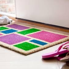 Spring Blocks - Doormat in pink. blue, green and purple - 17 in. x ...