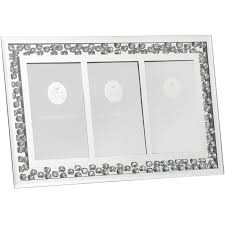 mirror and floating crystal triple aperture 4 x 6 picture photo frame