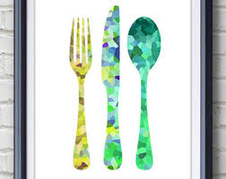 cutlery fork knife spoon kitchen print home living cutlery painting kitchen wall art wall decor home decor house warming gifts on kitchen fork knife spoon wall art french painting with kitchen cutlery fork knife spoon watercolor art print